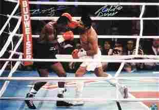 Boxing Sugar Ray Leonard and Roberto Duran signed 16x12