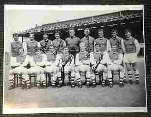 Football Arsenal vintage multi signed 16x12 black and