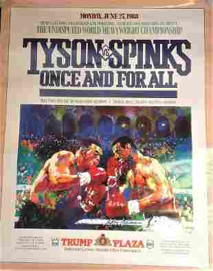 Boxing Poster 33x26 Mike Tyson v Michael Spinks Once
