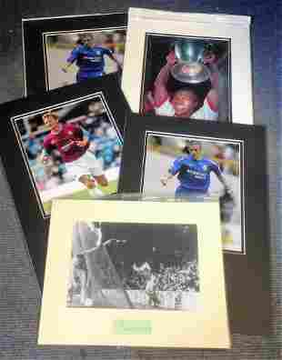 Football collection 5 mounted signature pieces includes