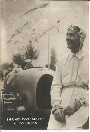 Motor Racing Bernd Rosemeyer signed 6x4 very rare