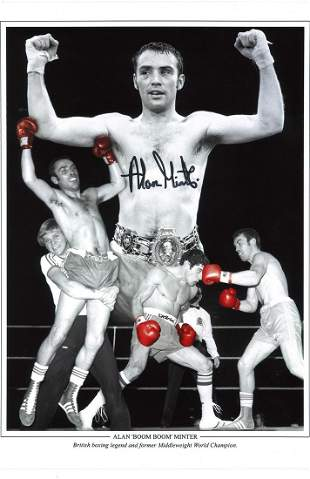 Boxing Alan Minter signed 16x16 montage photo of the
