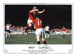 Football Lou Macari and Gordon Hill signed 16x12