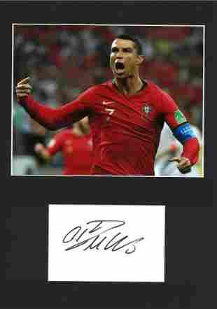 Football Cristiano Ronaldo 16x12 mounted signature