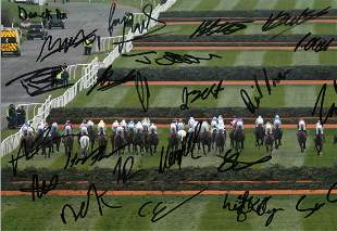 Horse Racing multi signed Grand National 16x12 colour