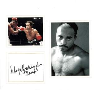Boxing Lloyd Honeyghan 12x10 mounted signature piece