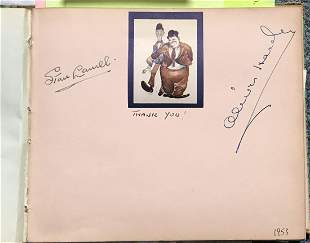 Laurel and Hardy signed autograph album page