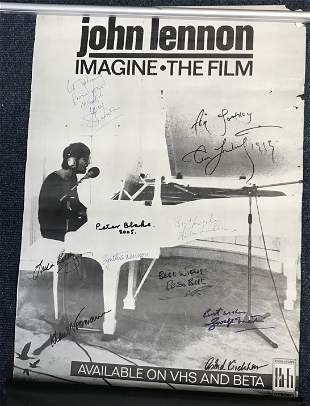 Beatles related multiple signed John Lennon poster.