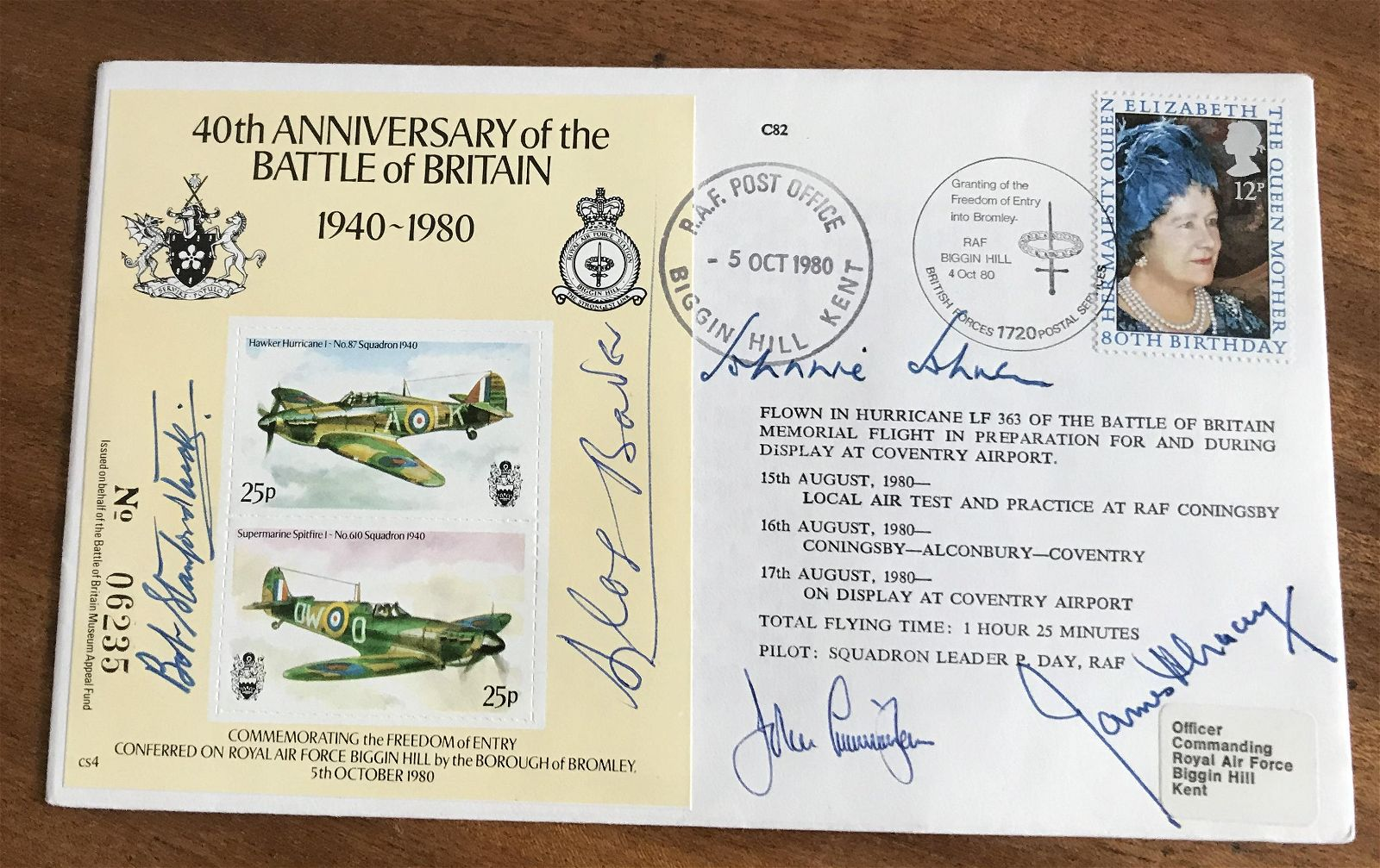 WW2 Five Battle of Britain aces signed cover.