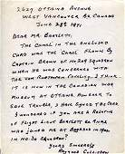 Raymond Collishaw. Hand written and signed letter on a