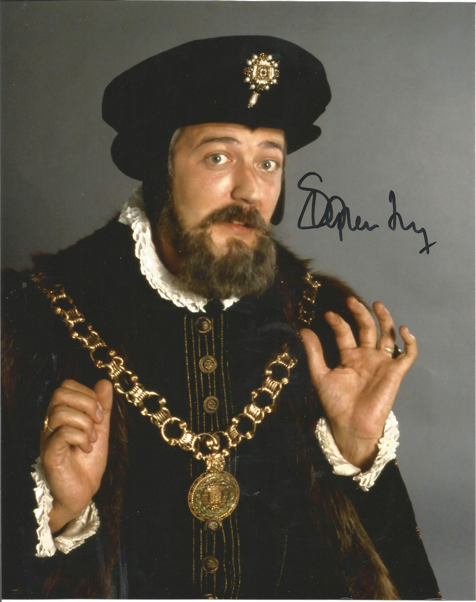Stephen Fry signed 10x8 Blackadder colour photo.