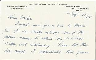 Field Marshall Allan Brooke hand written letter