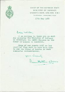 Lord Mountbatten of Burma typed signed note on Defence