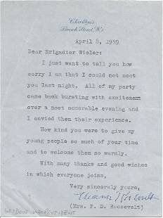 Eleanor Roosevelt typed signed letter to Brig Wieler