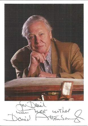 David Attenborough signed dedicated 6 x 4 colour photo