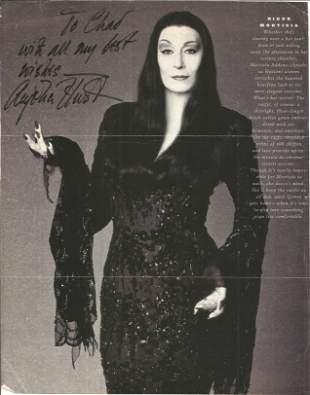 Anjelica Huston signed dedicated b/w newspaper article