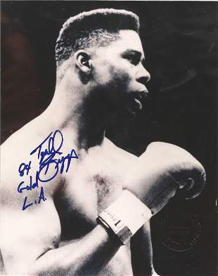 Boxing Tyrell Biggs signed 10x8 black and white photo.