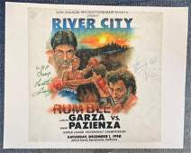 Boxing very rare felt type material fight poster 15x15