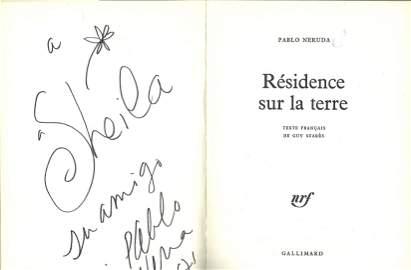 Pablo Neruda signed presentation copy of Residence sur