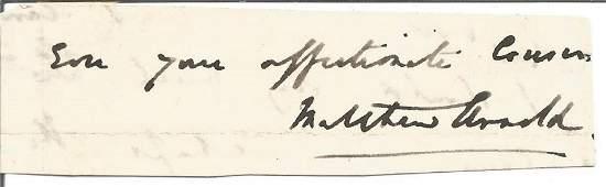 Matthew Arnold small signature piece. Good condition.