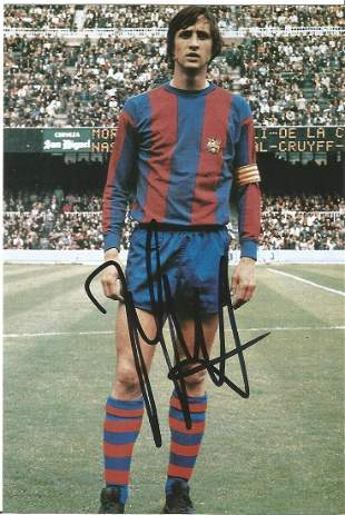 Johan Cruyff signed 6x4 colour photo. Good condition.