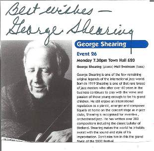 George Shearing signed magazine page. Sir George Albert