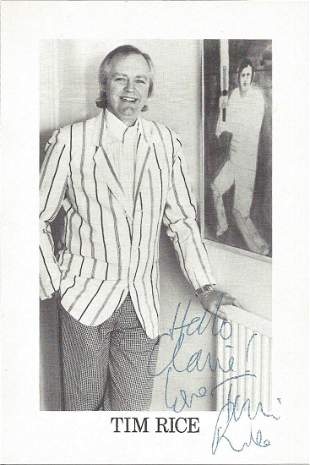 Tim Rice signed 6x4 black and white photo. Sir Timothy