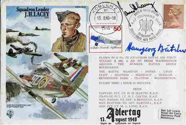 WW2 aces. RAF cover dedicated to and signed by Battle