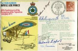 WW2 aces. RAF cover dedicated to and signed by US ace