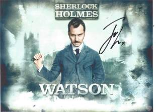 Jude Law signed 12x8 Sherlock Holmes colour photo.