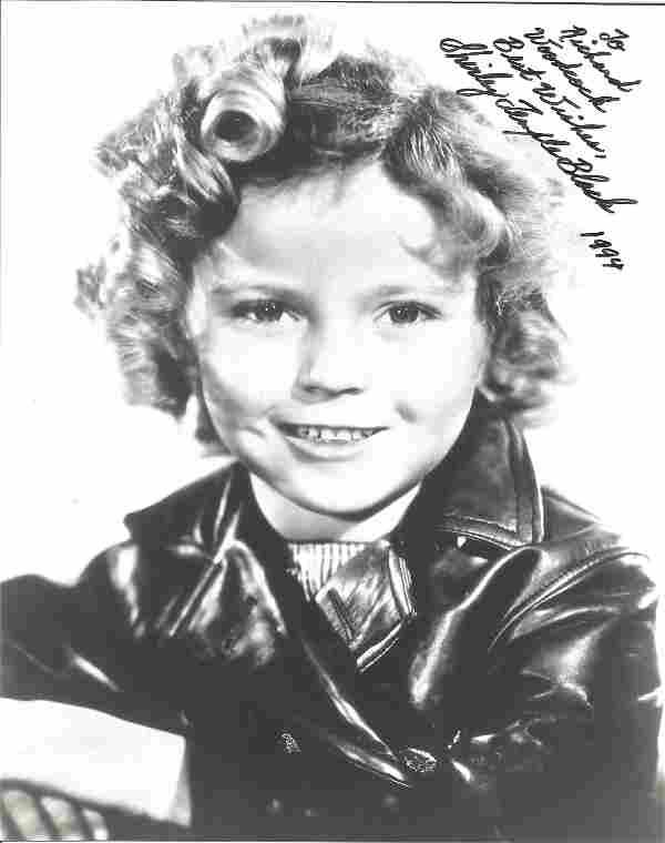 Shirley Temple Black signed 10 x 8 inch b/w early