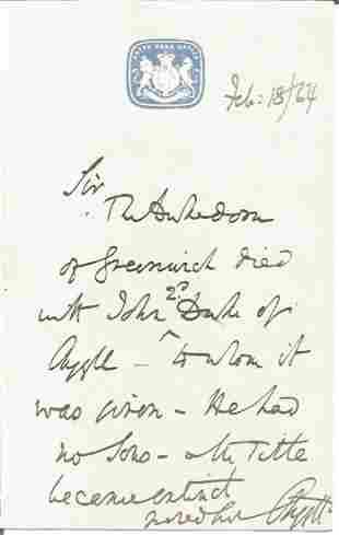 Duke of Argyll (1823-1900) ALS dated 1864. Political