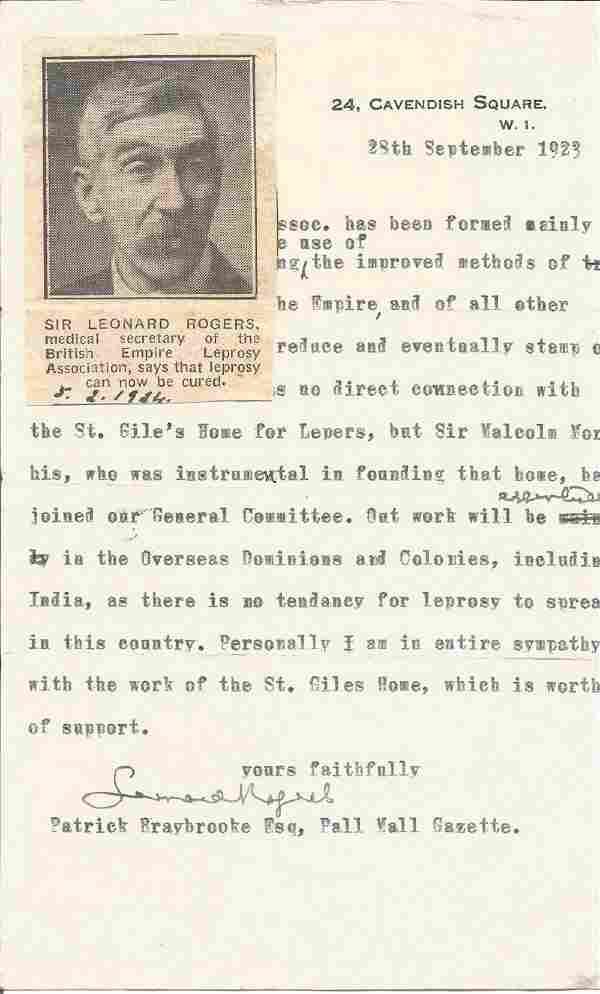 Sir Leonard Rogers TLS dated 28/9/1923. Founder member