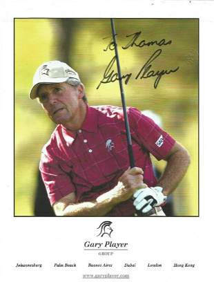 Gary Player signed 12x8 colour photo. Dedicated. Good
