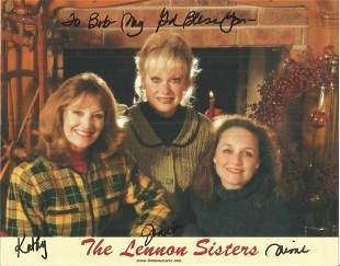 The Lennon Sisters signed 10x8 colour photo. Dedicated.