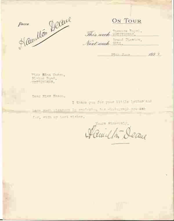 Hamilton Deane signed 7x5 vintage sepia photo and TLS
