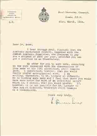 Sir Harold Spencer Jones Astronomer TLS dated 21st
