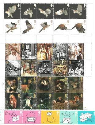 GB Mint stamps 61 1st class values in sets inc