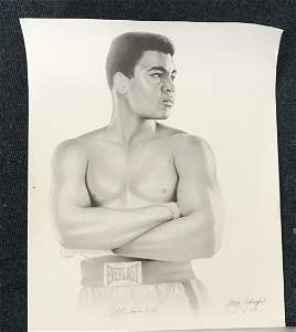 Boxing Muhammad Ali signed 20 x 16 print of a young Ali
