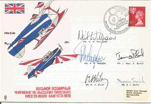 World Aerobatics Air Display cover, flown and signed by
