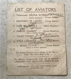Rare early Aviators signed 1910 Air Show Programme.