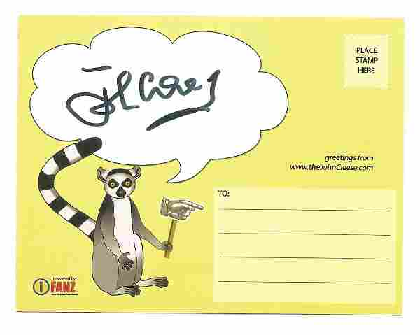 John Cleese signed postcard (colour, double sided).