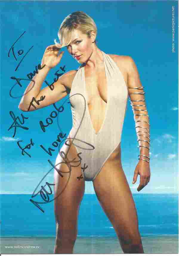 Nell McAndrew signed 8 x 6 colour double sided photo