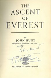Edmund Hillary and John Hunt signed hardback book