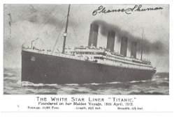 Titanic survivor Eleanor Shuman signed Postcard with a