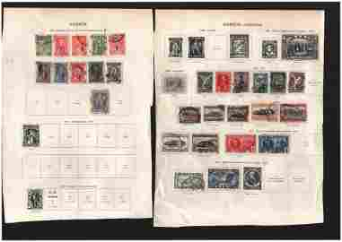 Stamp collection on 7 loose album pages. All from