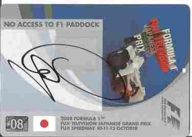 Motor Racing Lewis Hamilton pass for Japan 2008 Grand