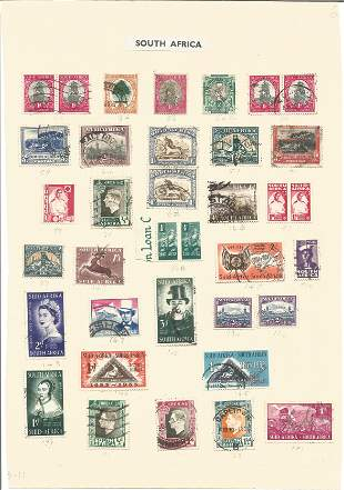 South African stamp collection on 2 loose sheets. 58