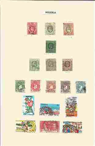 Nigerian stamp collection on 2 loose pages. 36 stamps.