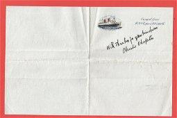 Charlie Chaplin signed Cunard Line R. M. S Queen